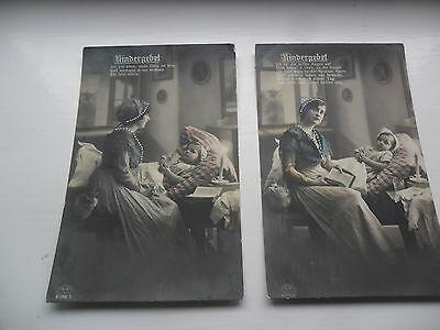 2 AK, Postkarten gel.1916 und 1917 mit Kindergebeten