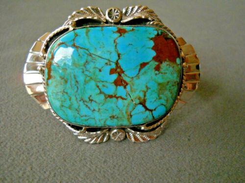 Native American Navajo Kingman? Turquoise Sterling Silver Cuff Bracelet TJJ