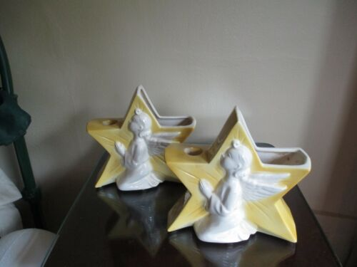 Nice Pair of Stylized Angel In a Star Mid Century Pottery Candle Holder / Center