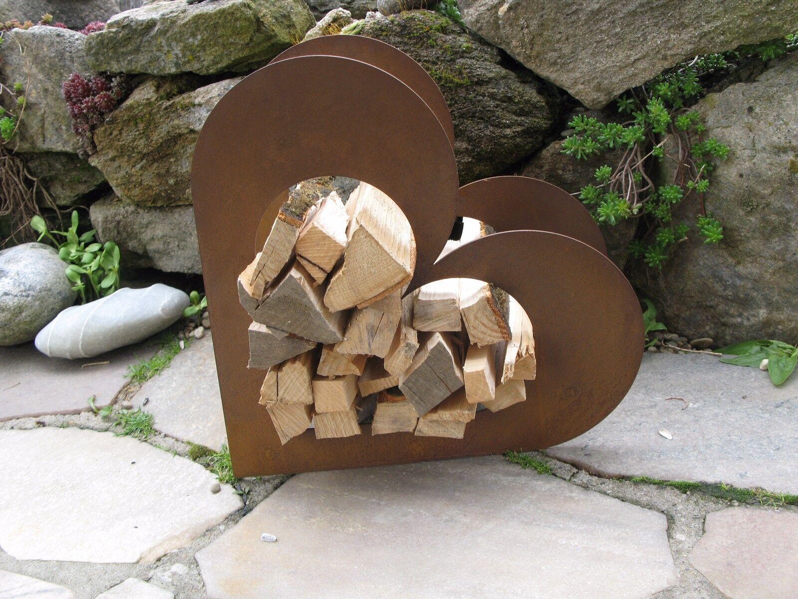 Herz aus Metall - Holz-Regal - Edel-Rost - Garten Terrasse - Deko - klein
