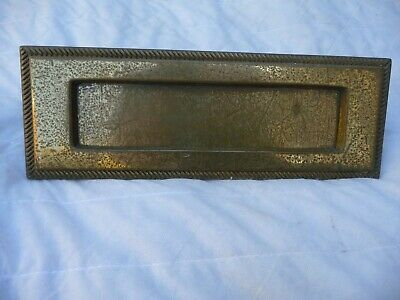 Vintage Large Brass Letterbox+ Bolts  Wide Opening Rope Edge Design Good Springs