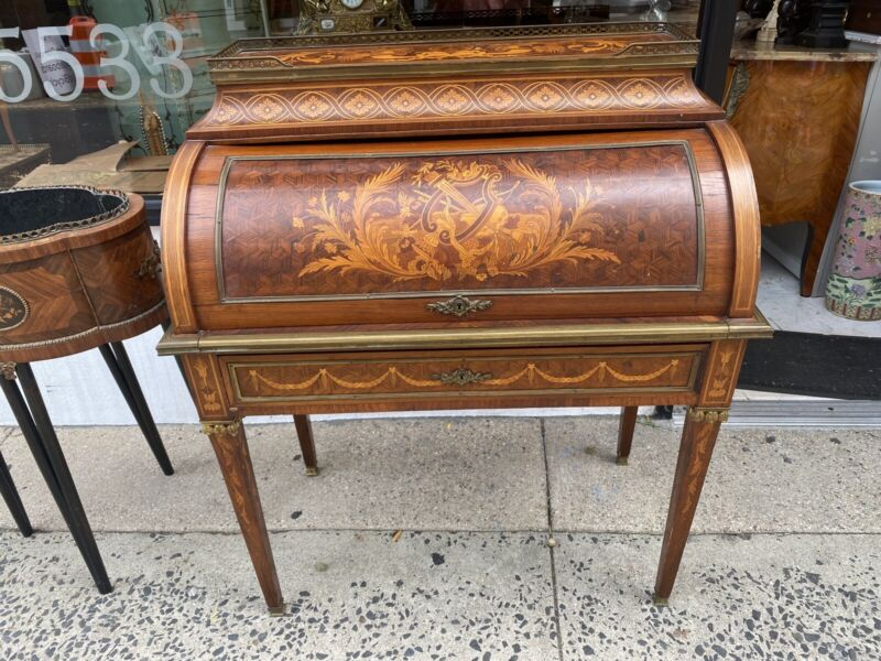 Antique High End Bronze French Louis XVI Marquetry Inlaid Fitted Cylinder Desk