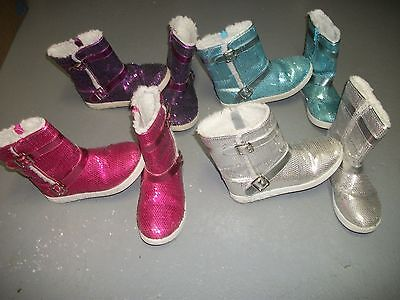CIRCO SEQUIN BLUE PINK PURPLE FLEECE LINED BOOTS SHOES GIRLS SZ 3 - Girls Purple Sequin Boots