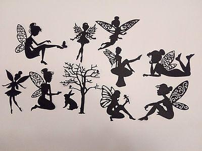 die cut outs silhouette fairy black  card x 10  new set 2 cardmaking,fairy  SALE