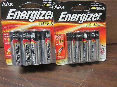 LOT OF ~ 12 ~ ENERGIZER MAX BATTERIES AA 8 & 4 PACK ~ NEW ~ BATTERY EXP 2023
