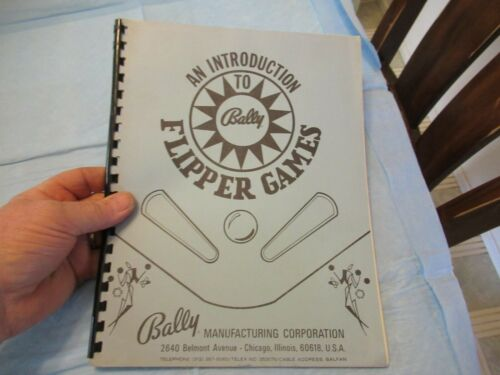 BALLY INTRODUCTION TO FLIPPER GAMES  BOOK