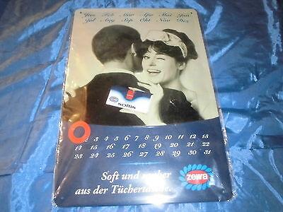 E : Reklame  Blechschild : Werbung  ZEWA  Softis , Kalender universal , ovp.