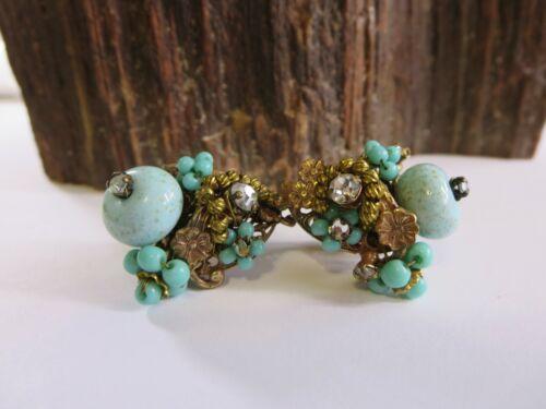 Vintage Robert DeMario Rhinestone Faux Blue Glass Brass Clip On Earrings RP17