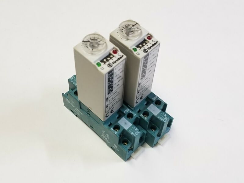Finder (Lot of 2) 85.32.0.110 Timer Relay Module & Type 94.82 Base