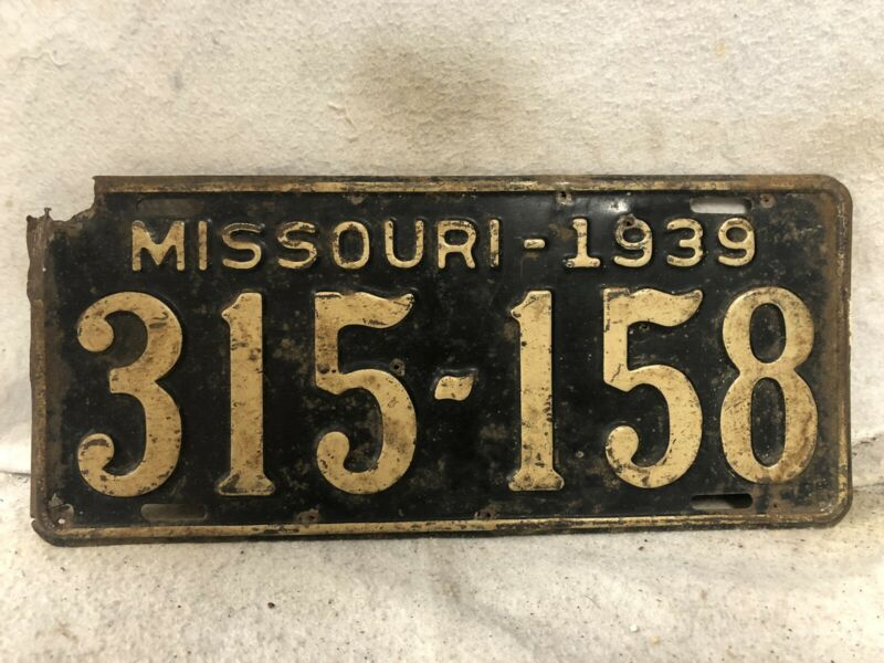 Vintage 1939 Missouri License Plate