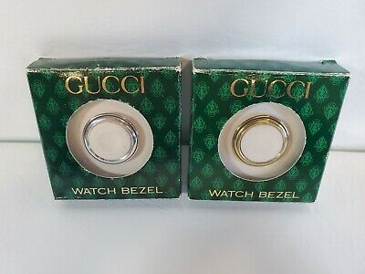 [NEW Vintage] Woman GUCCI Gold Tone & Silver cut watch Bezel in ORIGINAL BOX A1