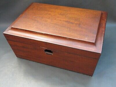 Antique empty wooden mahogany vanity or jewellery box for restoration