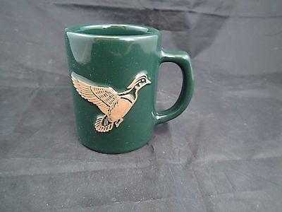 Vintage Frankoma Pottery Green Duck Mallard Coffee Mug Cup