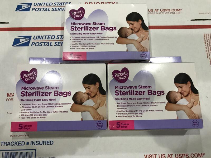 (3 BOXES) Parent's CHOICE Microwave Steam Sterilizer Bags BPA FREE
