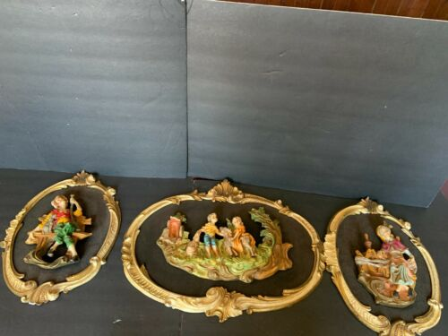 VINTAGE 3D EMPIRE FIGURAL  PEOPLE FRAMED WALL PLAQUE MADE IN ITALY
