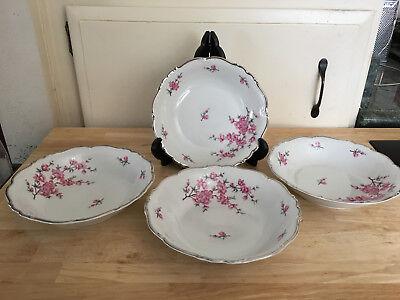 "Four (4) Edelstein Bavaria Madam Butterfly 8"" Coupe Soup Bowls Platinum Trim"