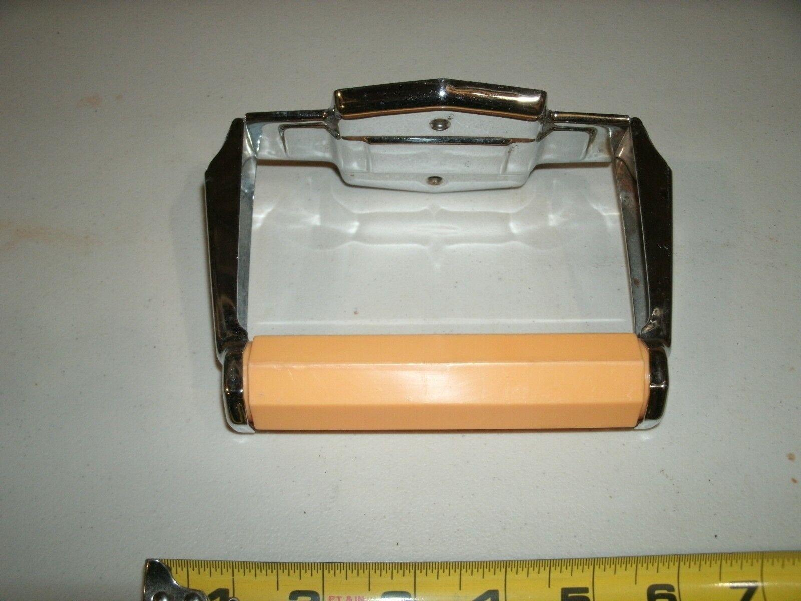 Vintage Chrome Tissue Paper Holder Autoyre Fairfield USA 56 Deco Design - $14.50