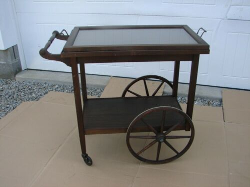Antique Wood Tea Cart with Removable Glass Tray