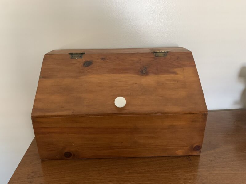 Vintage LARGE Solid Wood Hand Made Bread Box Rustic MCM Retro Farm House 80
