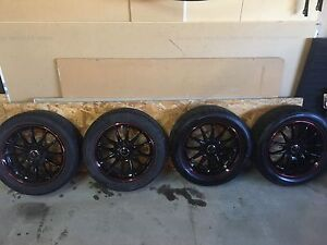 Black Widow street gear rims with tires. (Used on 2010 lancer)