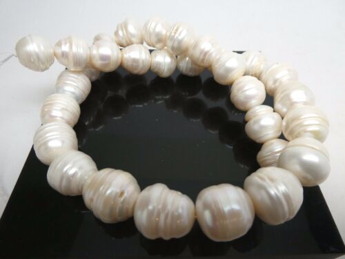 Natural Freshwater White Pearl Freeform Large 13mm x 12mm Bead Strand 16""