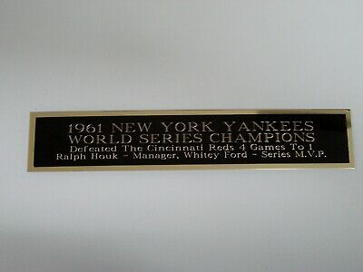 1961 New York Yankees World Series Nameplate For A Baseball Bat Case 1.5 X 6