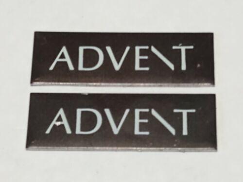 Two Vintage Advent Speaker Metal Badge Decal Logo