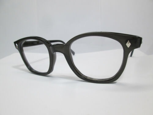 Eyeglasses Classic 60s Style Horn Rim Retro Custom Dark Gray Clear 50 Hoya Large