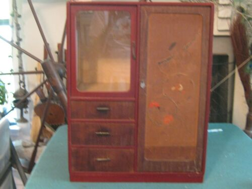"""ANTIQUE JAPANESE KO-TANSU SMALL CHEST OF DRAWERS Dark Wood 22"""" Tall"""