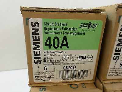 1 Box Of 6 New Siemens Q240 2 Pole 40 Amp Plug In 120240v Circuit Breakers