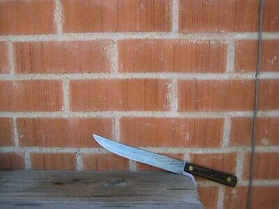 "Vintage 8"" Blade *** QUEEN CUTLERY COMPANY *** Carbon Carving Slicing Knife USA"