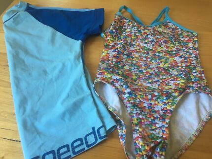 Kids Eyeline swimmers and Speedo rashy sz 10