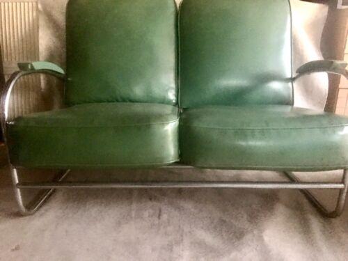 Rare / Kem Weber for Lloyd Chrome Sofa with Original Fabric / Rohde Deskey era
