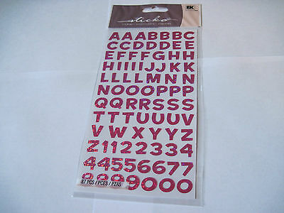 Scrapbooking Stickers Sticko Funhouse Pink Metallic Alphabet Letters