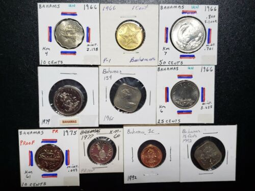 BAHAMAS UNCIRCULATED COIN COLLECTION LOT OF 10 COINS 1966-1992  #LB