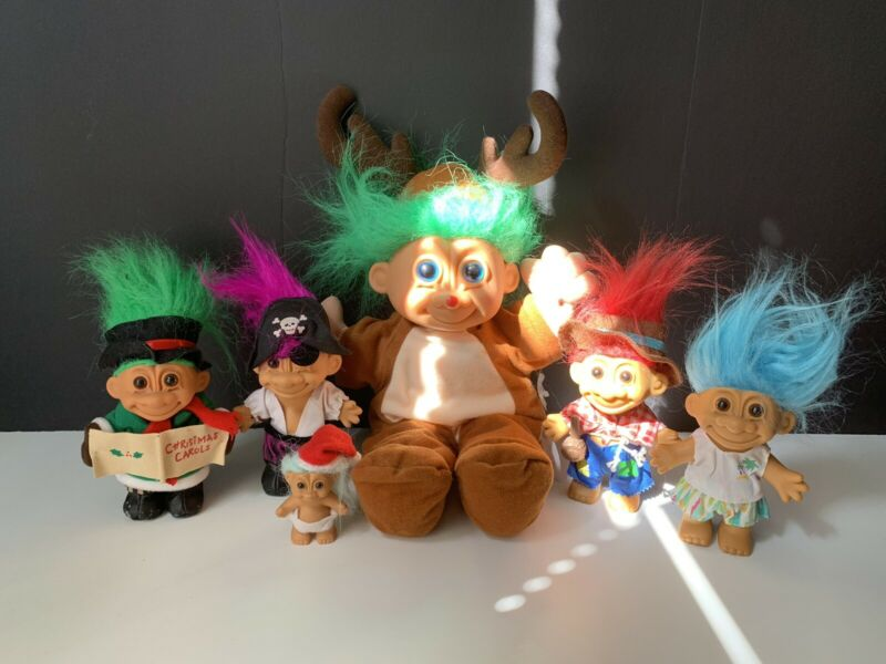 Lot Of 6 Vintage Russ Trolls Dolls-Christmas- Farmer-Pirate