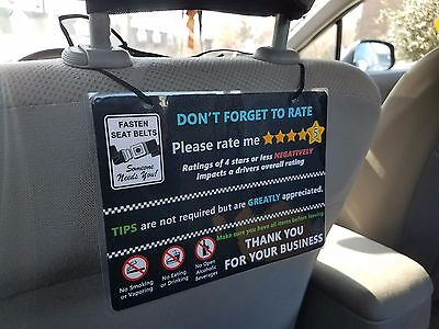 Uber And Lyft Tips   5 Star Rating Headrest Rideshare Sign  Style5   Set Of 3
