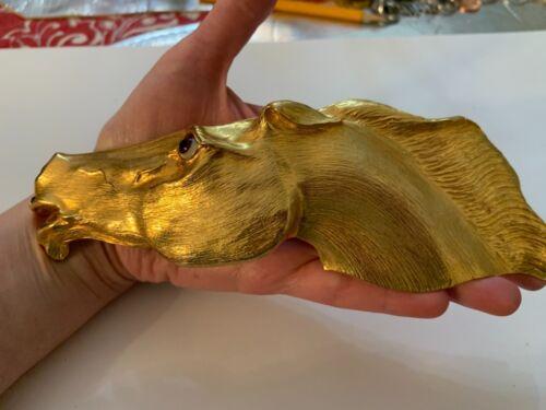 VTG CHRISTOPHER ROSS DESIGNER 1985 LARGE HORSE HEAD BELT BUCKLE 24K GOLD PLATED