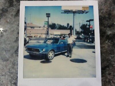 Vintage Polaroid Photo Of Blue Mustang at Gas Station For Sale by (Polaroid For Sale)