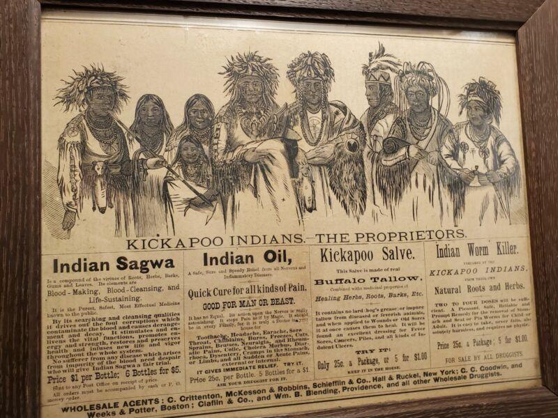 Quack Medicine KICKAPOO INDIAN REMEDIES Advertising Sign The Proprietors Paper