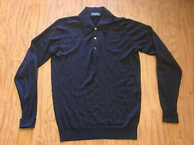 John Smedley Wool Polo Shirt Collared Sweater MED Navy Blue Made Great Britain