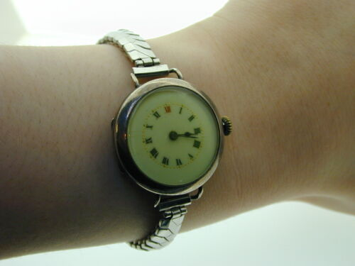 Art Deco Sterling Silver Cased Wrist Watch Stainless Steel Expanding Strap 1917