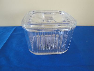 Vintage Refrigerator Dish Box Clear Glass Ribbed Square Mid Century*lid