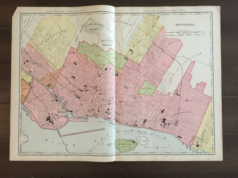 """Large 28"""" X 21"""" COLOR Rand McNally Map of Montreal (1905)"""
