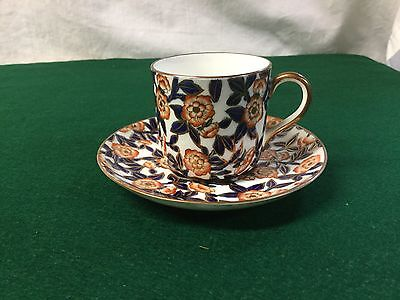 ANTQ EJD Bodley(Burslem) Demitasse/Espresso Cup/Saucer Blue/Orange/Gold Chintz