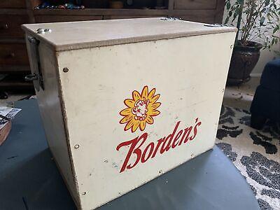 1950's Vintage BORDEN'S MILK BOTTLE PORCH BOX Wooden Cooler ELSIE the Cow Sign