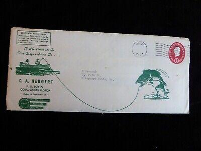 2 1955 C.A. HERGERT'S CORAL GABLES FL JOHN ASTOR FISHING LURES ADS W/ ENVELOPE