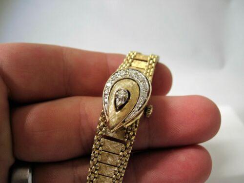 14k Gold and Diamond Bulova Flip Watch Women