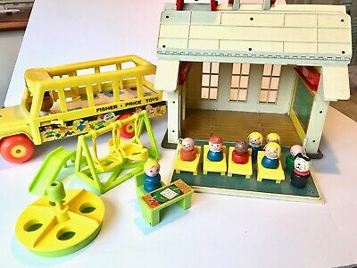 Vintage Fisher Price Little People School House, Bus, Playground, People 1971