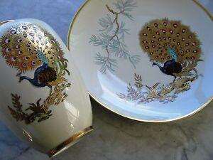 Vaso e piatto ceramica bavaria Hertel Jacob porzellan pavone vintage anni 60 - Italia - Vaso e piatto ceramica bavaria Hertel Jacob porzellan pavone vintage anni 60 - Italia